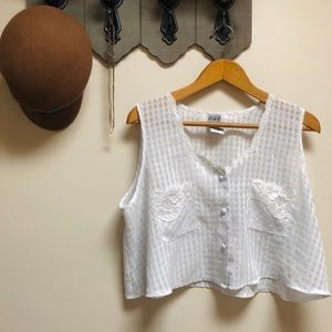 🌼SHEER WHITE BUTTON UP CROP TOP🌼